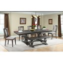 Elements International Morrison Table Set with Dining Bench - Item Number: DMO100DT+DB+5xWSC+110BN