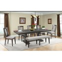 Elements International Morrison Table Set with Dining Bench - Item Number: DMO100DT+DB+5xWSC+BN