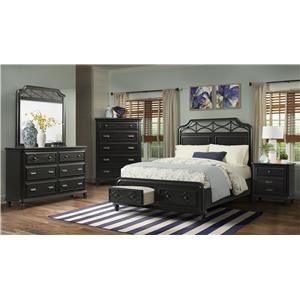 Elements International Mystic Bay 4-Piece Black Queen Bedroom Group