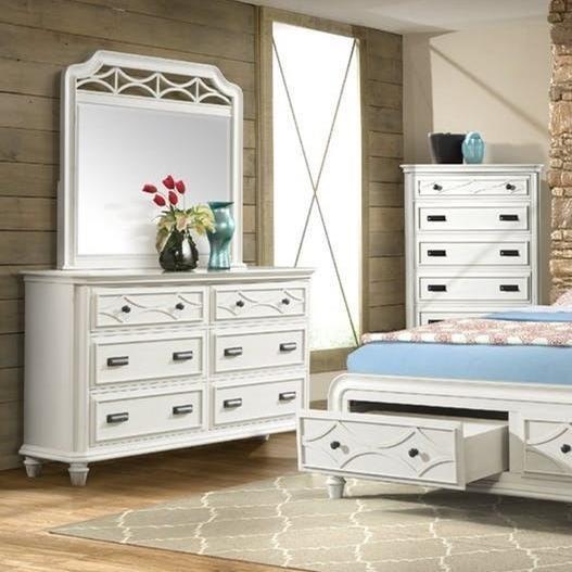 Elements International Mystic Bay Dresser and Mirror Set - Item Number: MY700DR+MY700MR