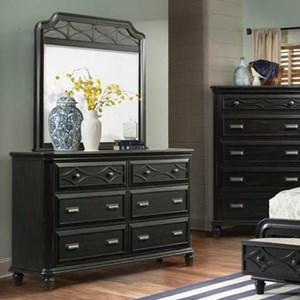 Elements International Mystic Bay Dresser and Mirror Set
