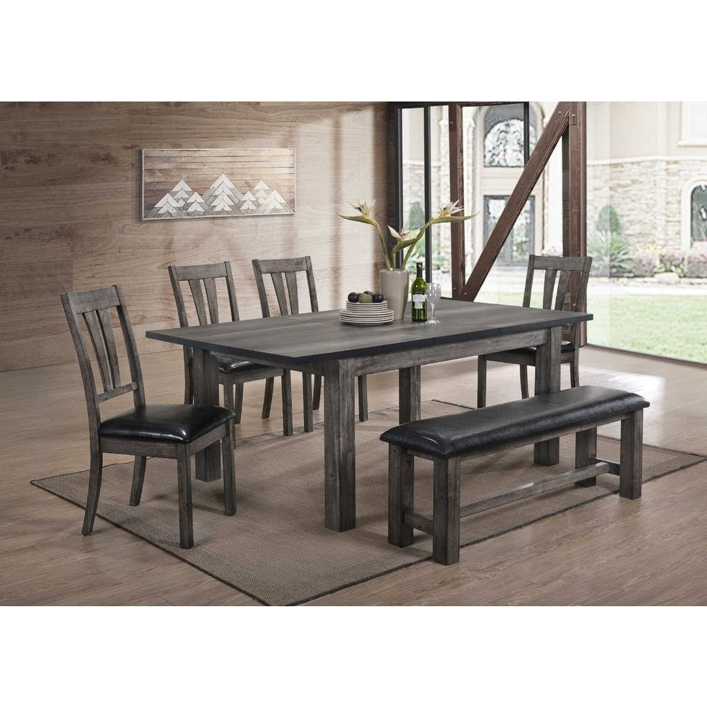 Elements International Nathan Dining Room Table Set - Item Number: DNH100DT+DNH100BN+4xDNH100SCPVS