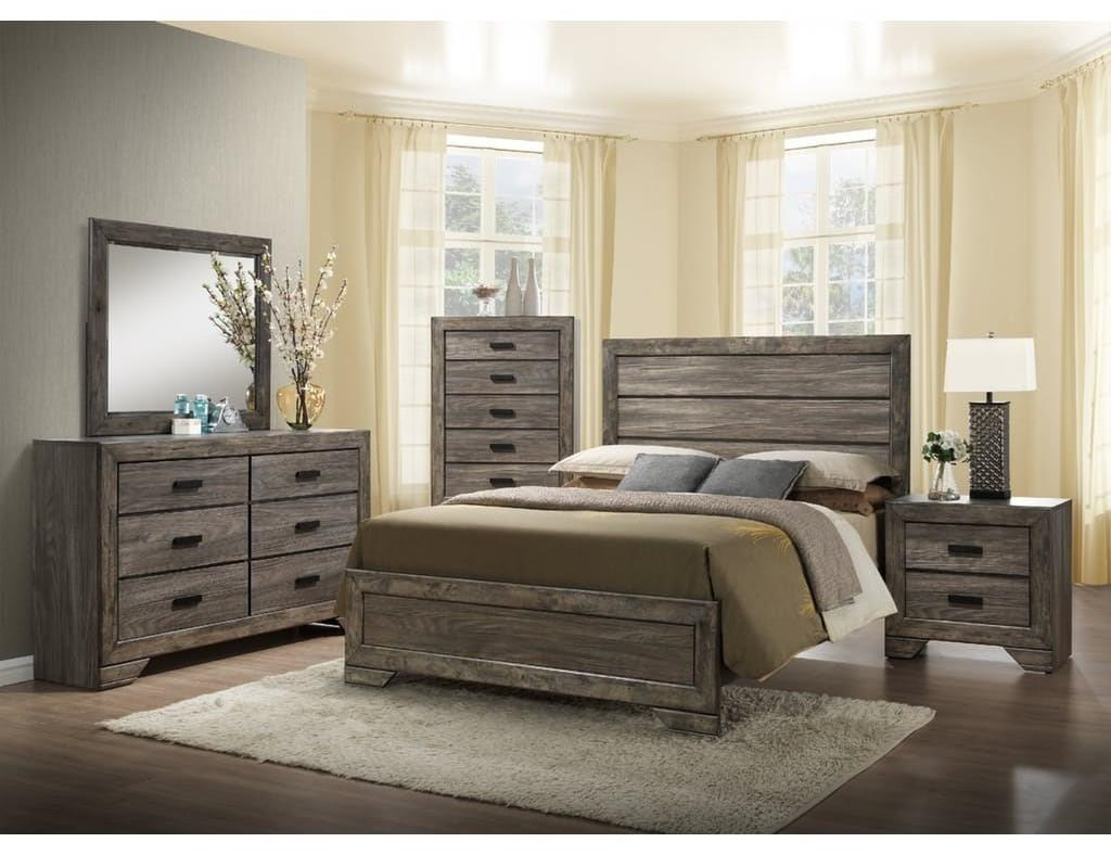 King Panel Bed, Dresser, Mirror & Nigtstand