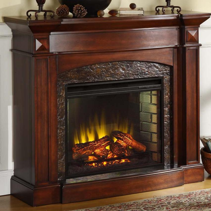 Elements International Occasional Accents Elements Temple Fireplace With Faux Stone Accents