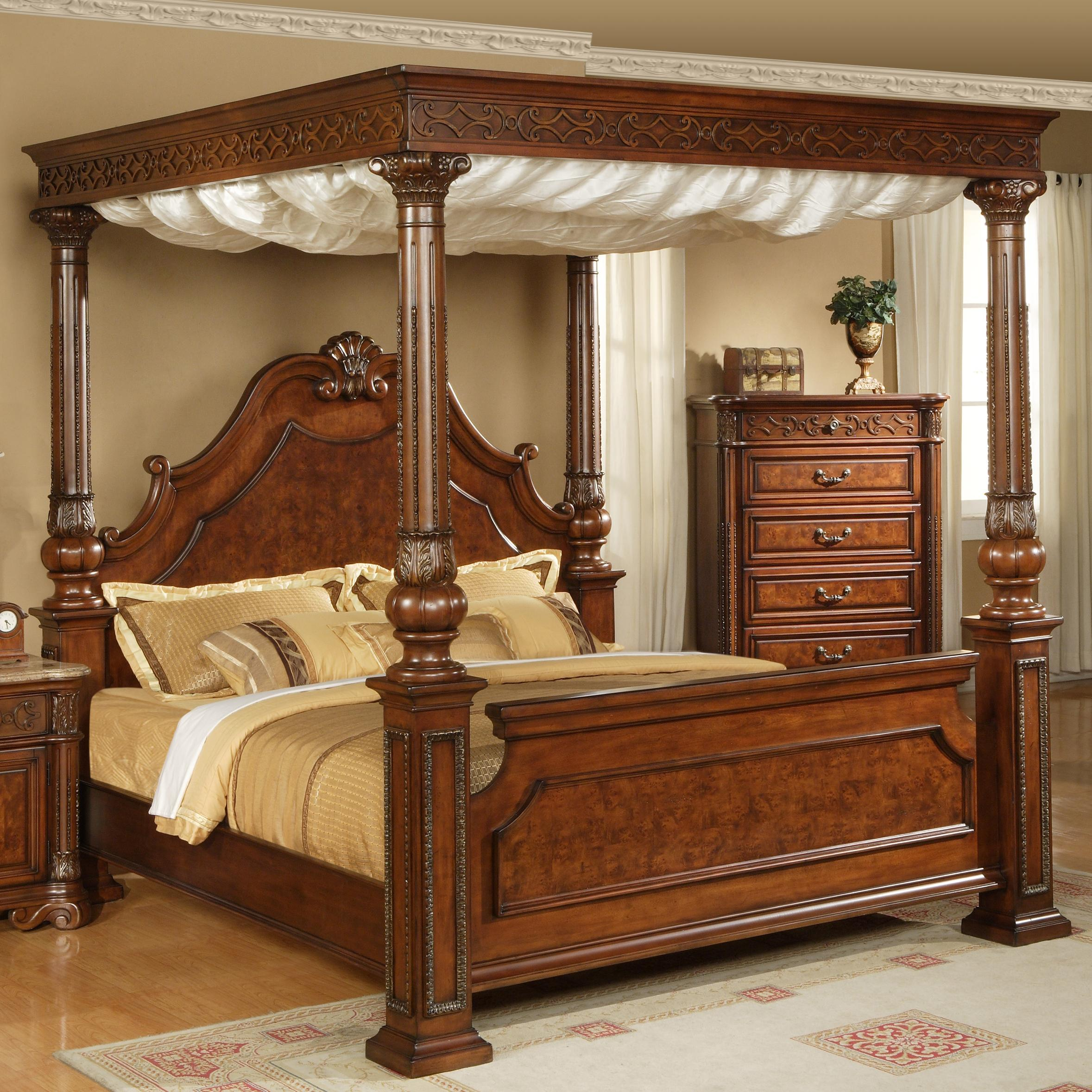 elements international olivia queen traditional ornate rich brown