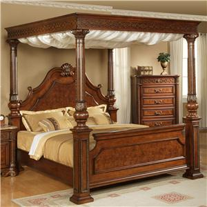 Canapy Beds elements international olivia queen traditional ornate rich brown