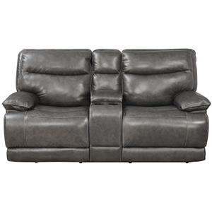 Elements International Owen Power Motion Love Seat with Console