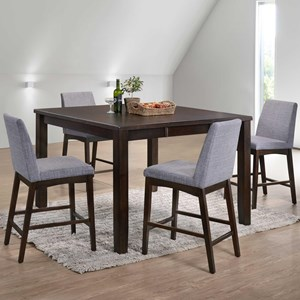 Elements International Piper Five Piece Counter Height Dining Set