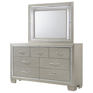 Elements International Platinum Dresser and Mirror Set