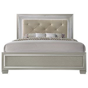 Elements International Platinum Queen Upholstered Bed