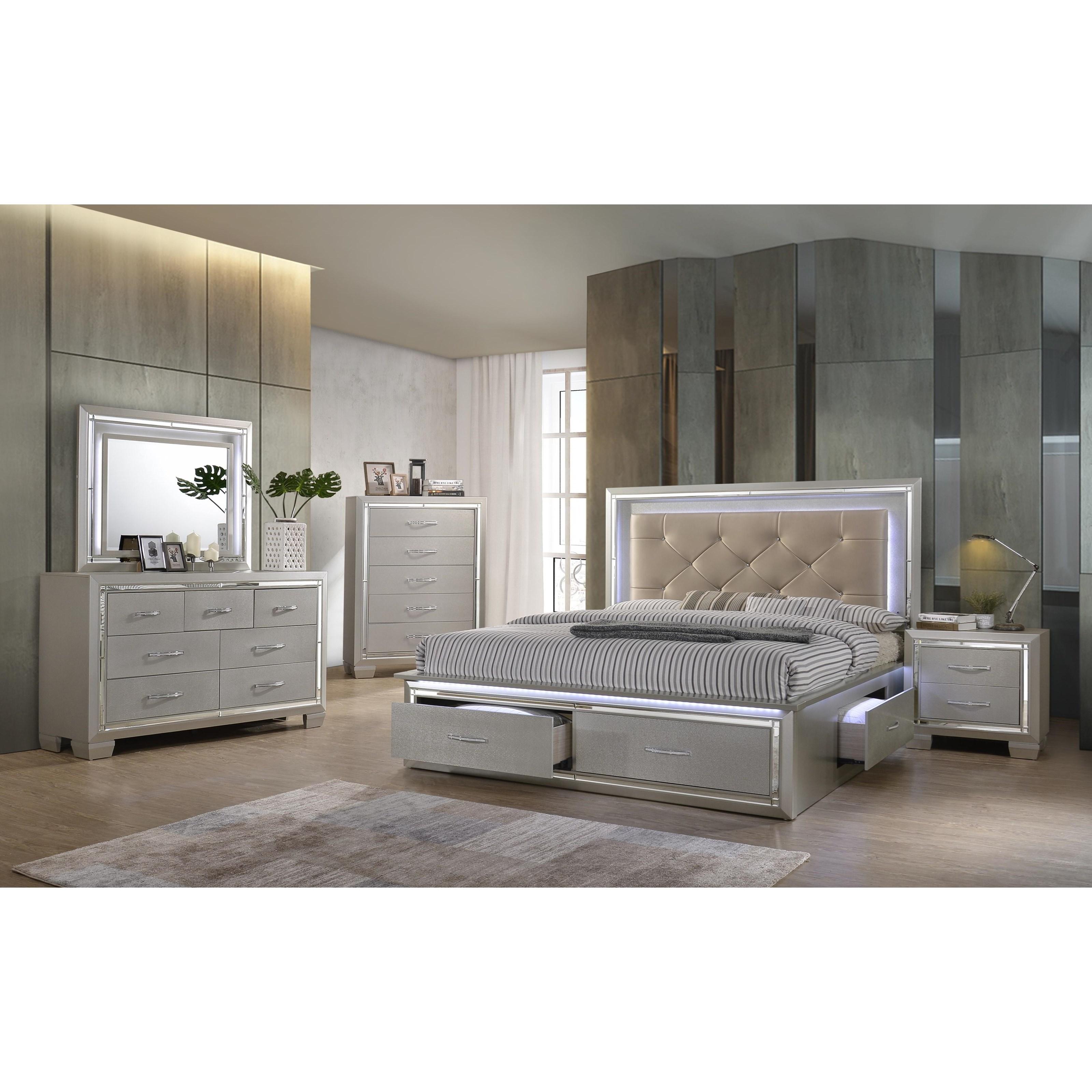 elements platinum contemporary queen platform storage bed
