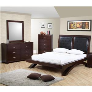 Elements International Raven Queen Bed, Dresser, Mirror & Nightstand