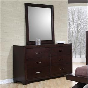 Elements International Raven Dresser & Mirror