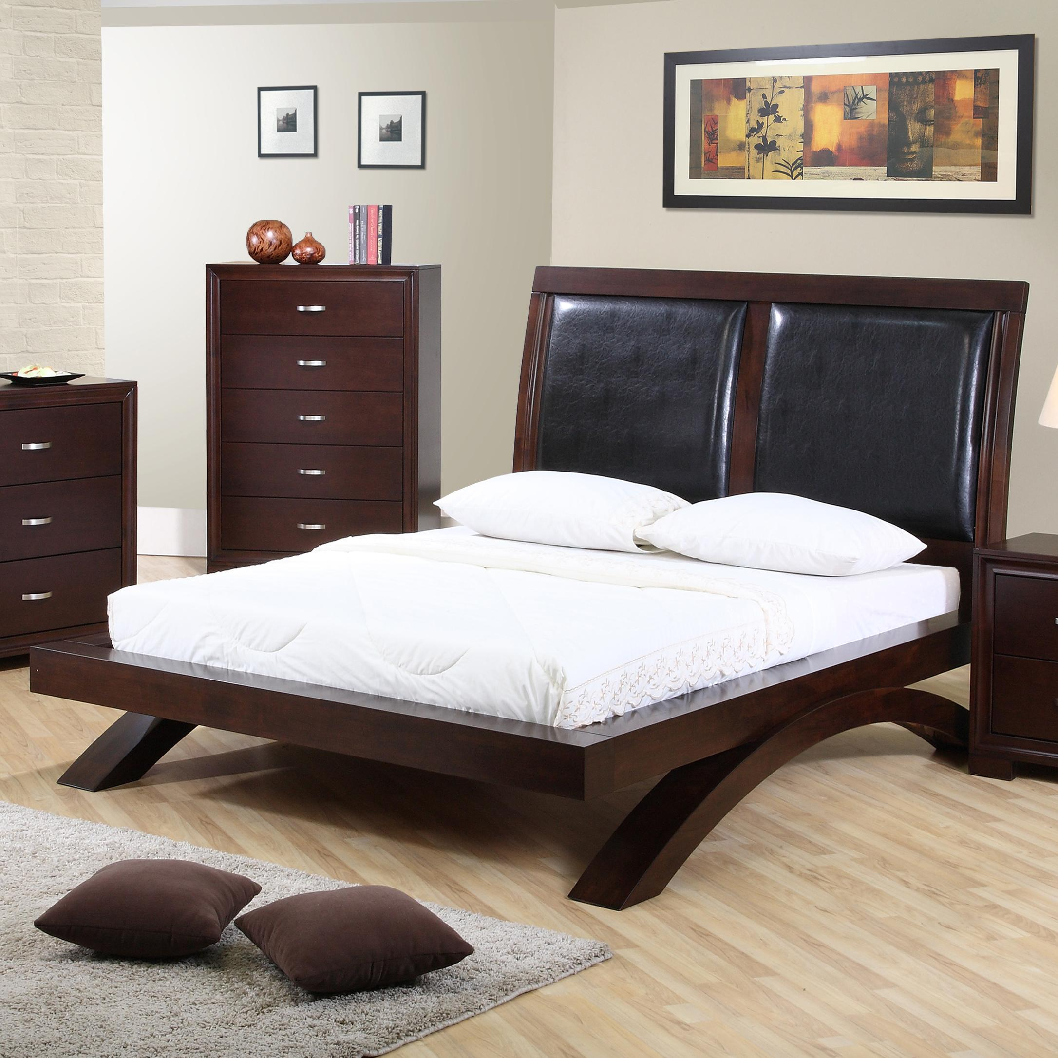 Bed headboard leather - Elements International Raven Queen Faux Leather Headboard Platform Bed Item Number Rv222qb