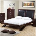Elements International Raven King Faux Leather Headboard Platform Bed - Item Number: RV222KB