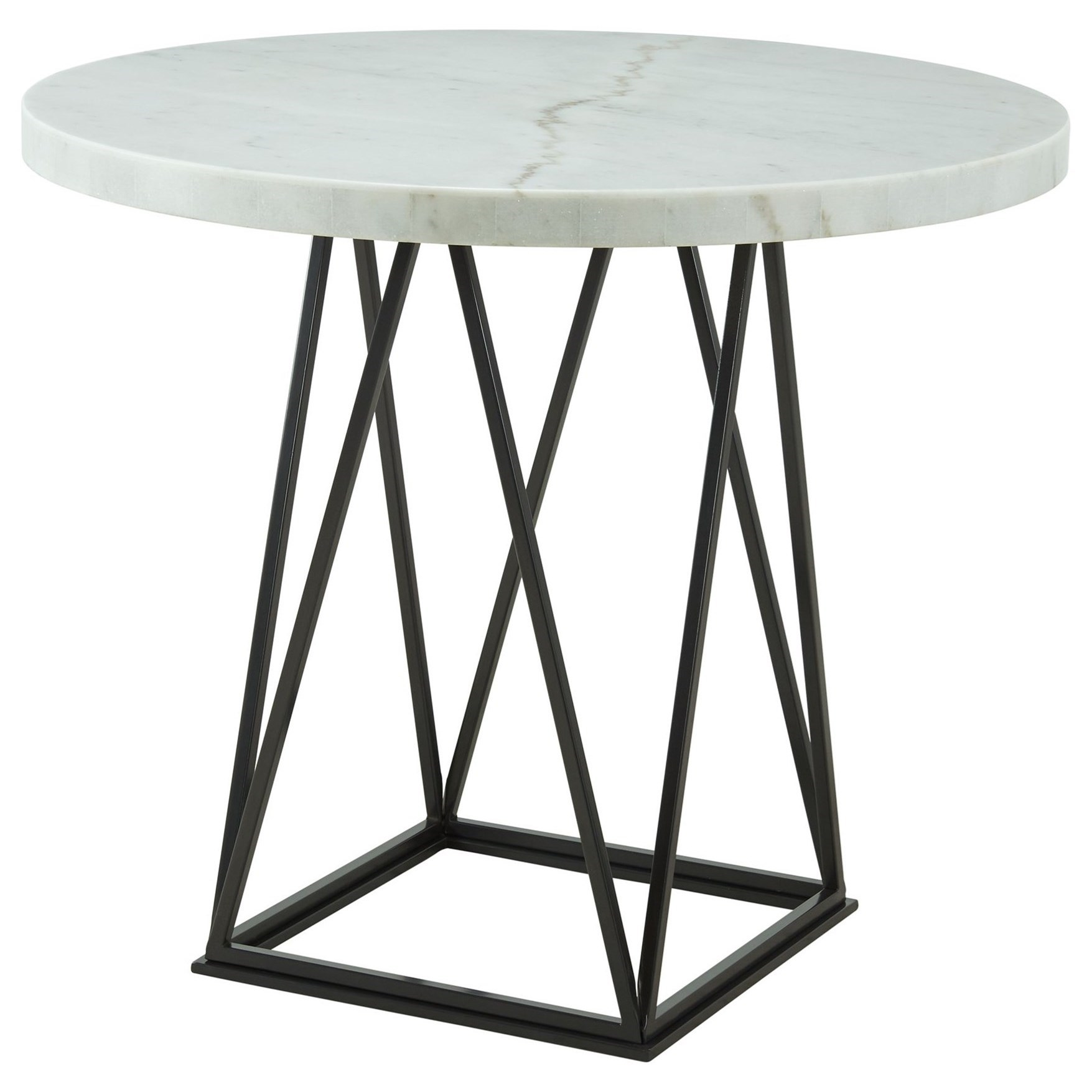 Picture of: Elements International Riko Round Counter Height Dining Table With Marble Top Lindy S Furniture Company Pub Tables