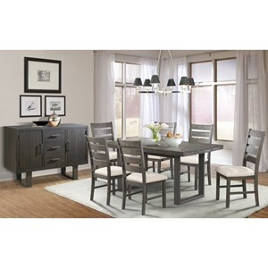 Elements International Sawyer Dining Group with Six Chairs