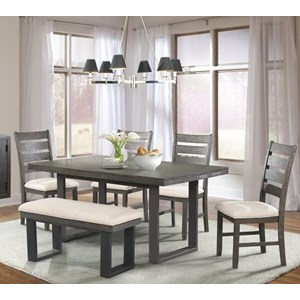 Elements International Sawyer Table Set with Bench