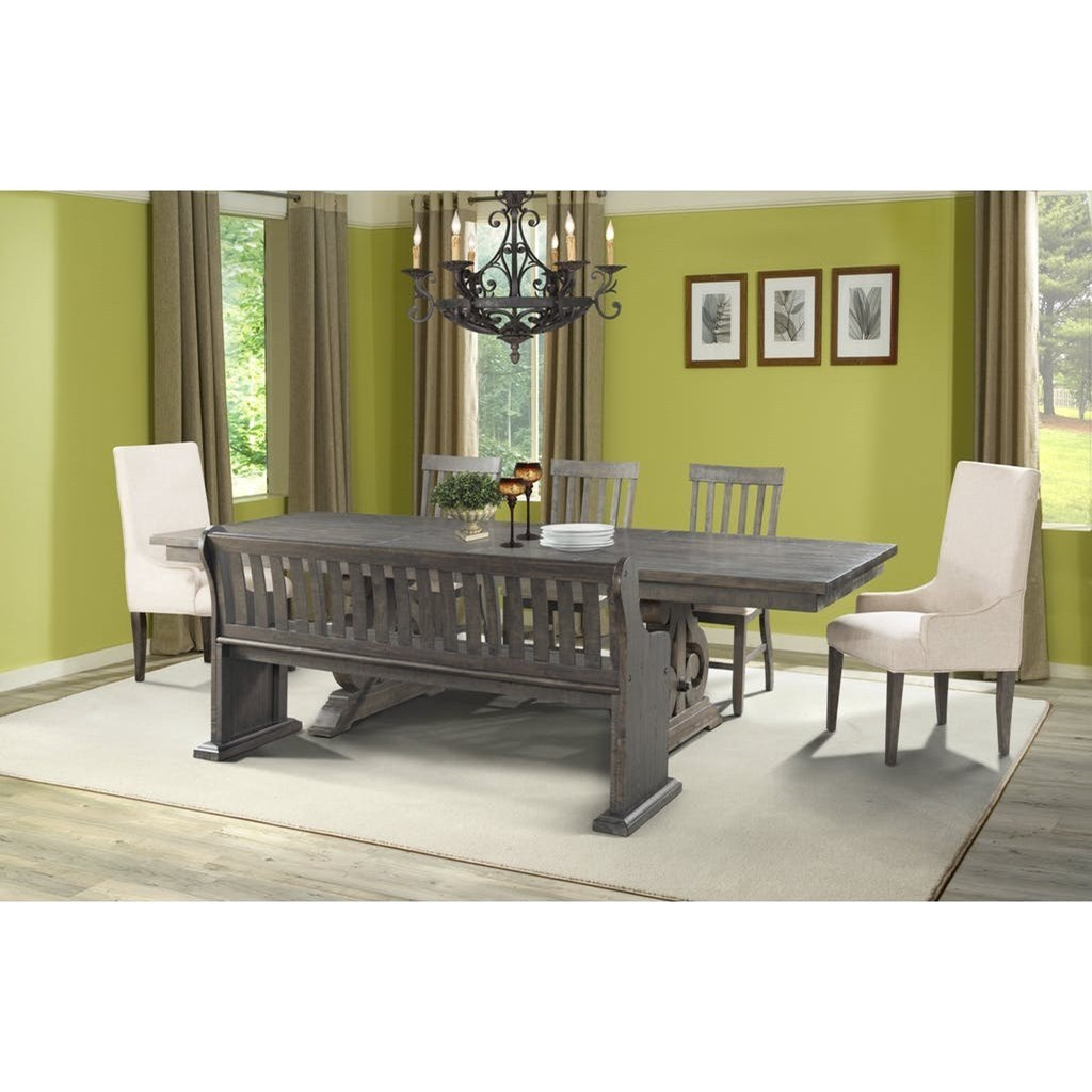 Elements International Stone Dining Table Set With Bench Item Number Dst100dt Db