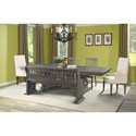 Elements International Stone Dining Table Set with Bench - Item Number: DST100DT+DB+PW+2xPC+3xSC