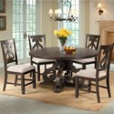 Elements International Stone Round Table and Chair Set - Item Number: DST180DT+4xDST150SC