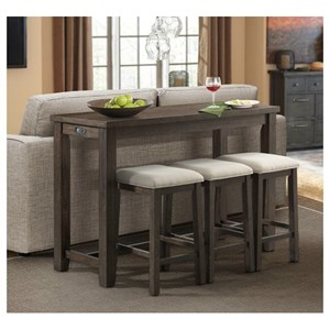 Elements International Stone Bar Table Set