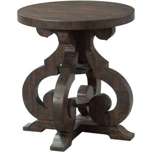 Elements International Stone Round End Table