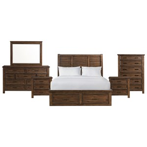 Elements International Sullivan King 6 Piece Bedroom Group
