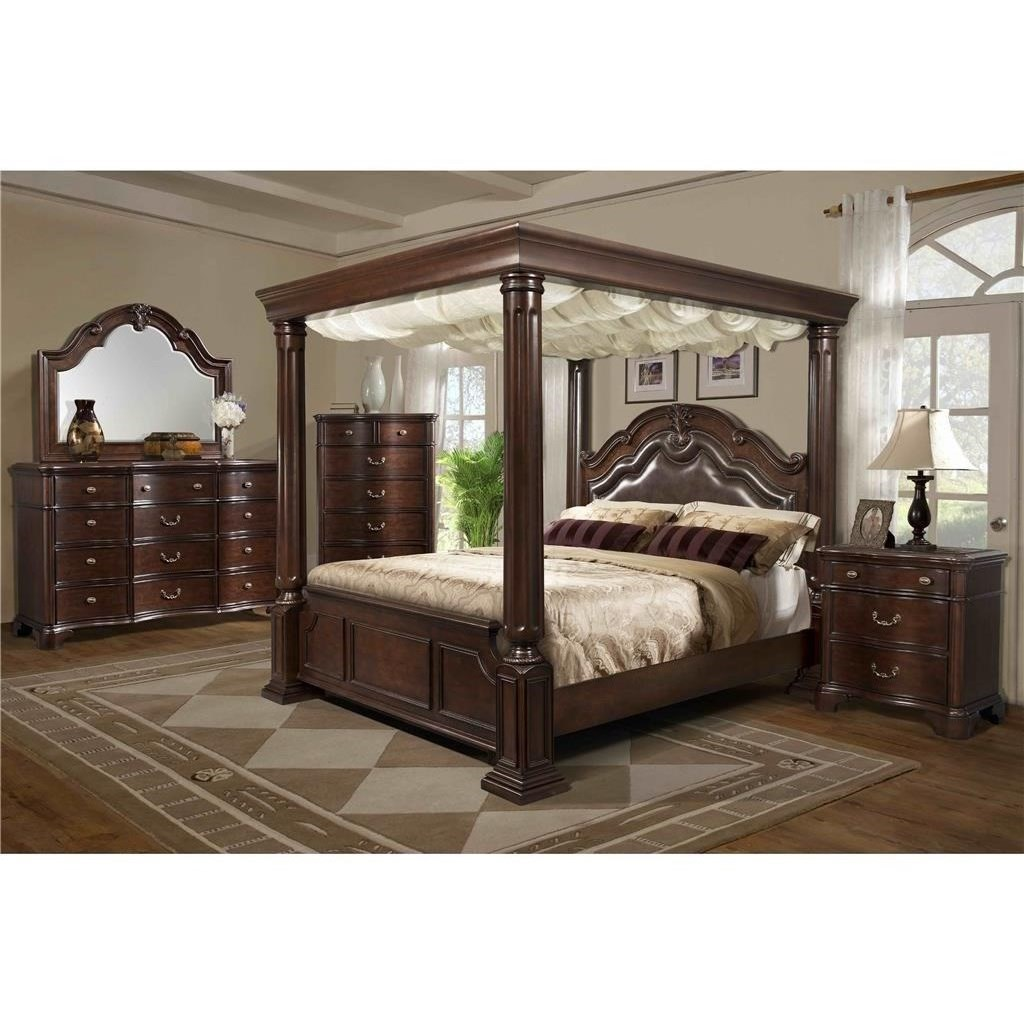 Queen Canopy Bed: Tabasco Queen Canopy Bed With Upholstered Headboard