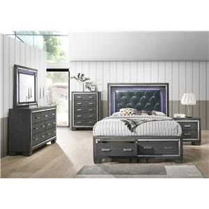 Elements International Titanium LED Queen Storage Bedroom Group