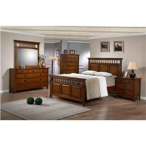 Elements International Trudy King Mission Style  Panel Bed, Dresser, Mirr
