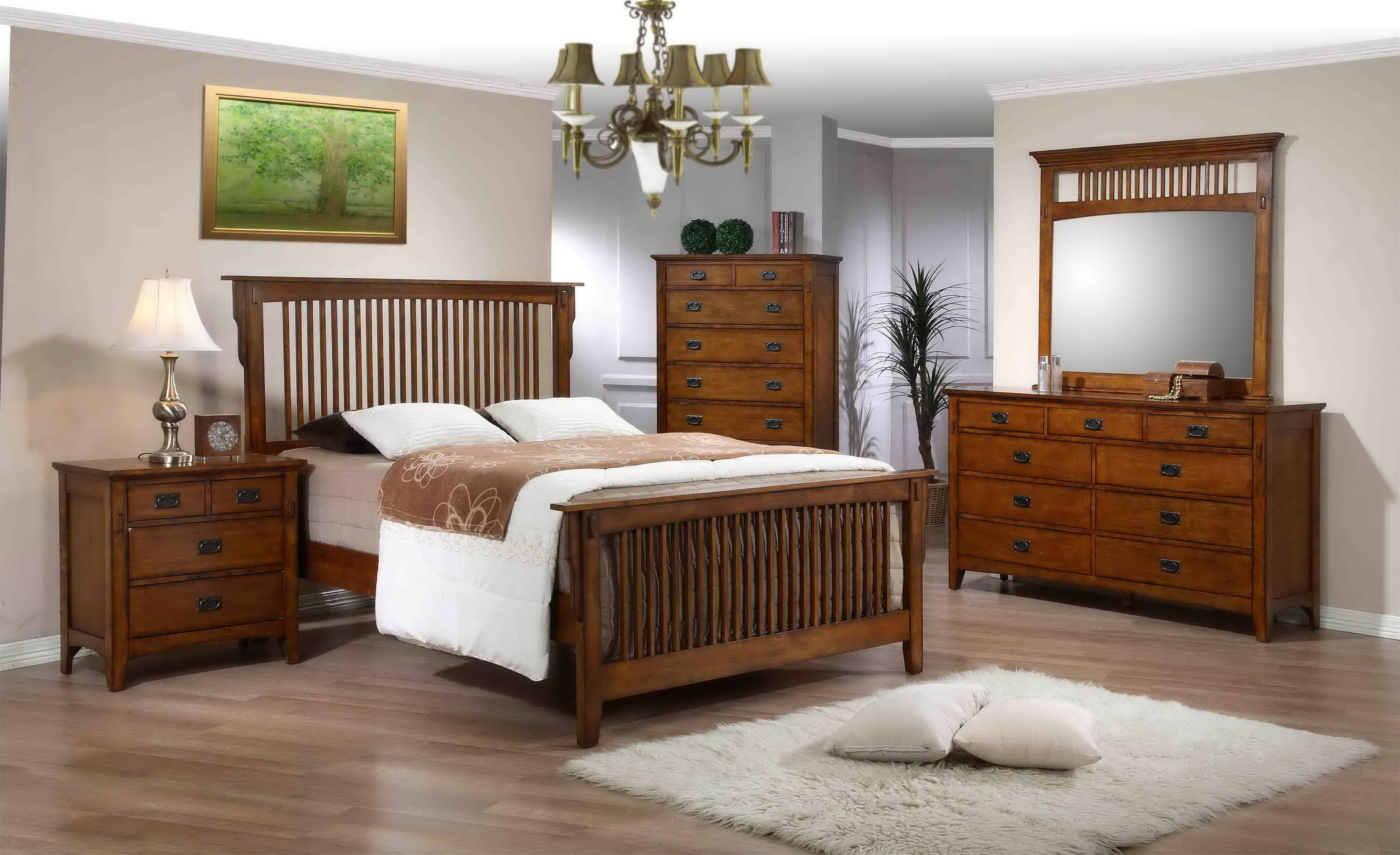 Elements International Trudy Mission Style Double Dresser And Mirror With Slat Detail