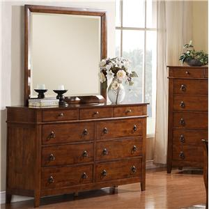 Elements International Tucson Nine Drawer Dresser and Mirror Set