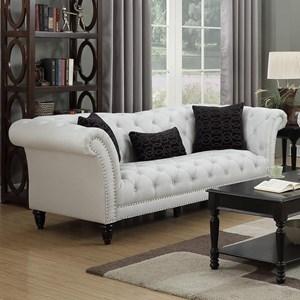 Elements International Twain Sofa with Kidney Pillows