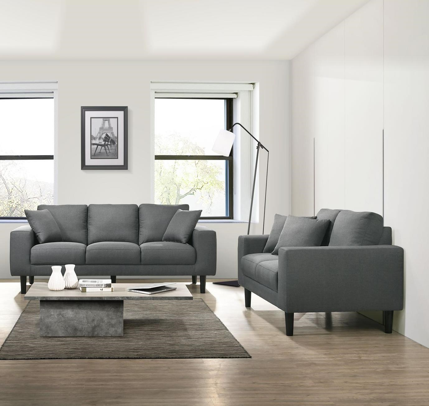 Picture of: Elements International Apollo Midnight Usp 3450 302pl 201pl Grey Sofa And Loveseat Living Room Set Sam Levitz Furniture Stationary Living Room Groups