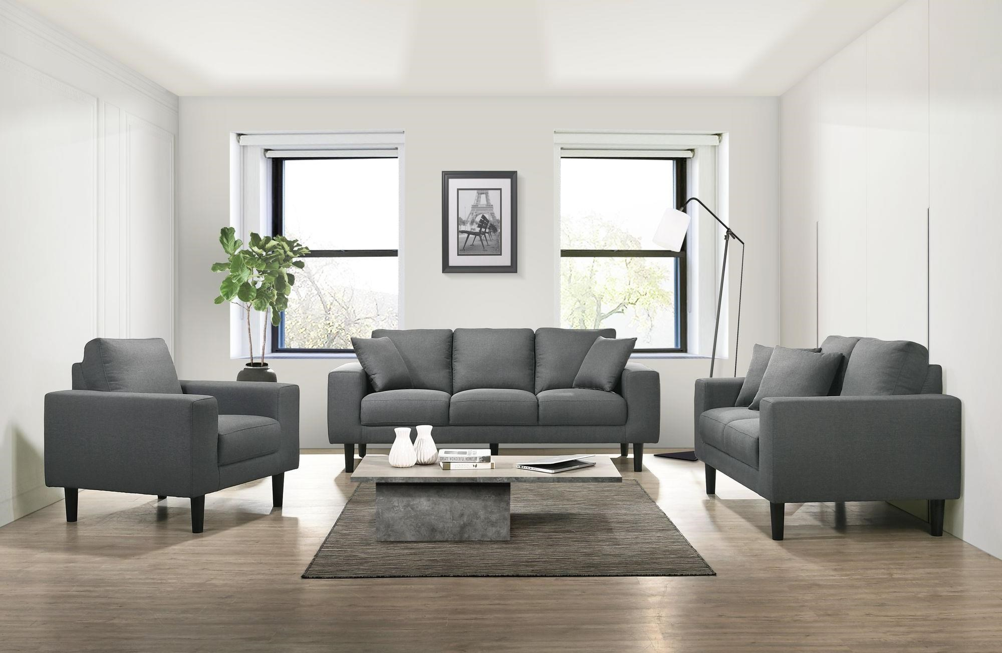 Elements International Apollo Midnight USP-3450 Grey Sofa, Loveseat, And Chair Living Room Set | Sam Levitz Furniture | Stationary Living Room Groups