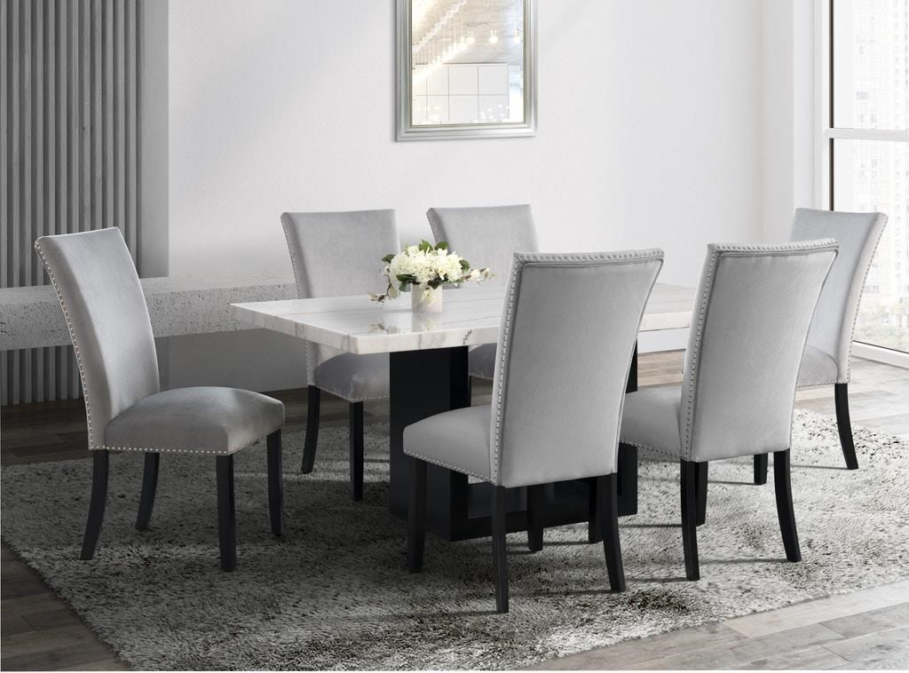 Dining Table & 6 Upholstered Side Chairs