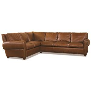 Elite Leather Denver Large Leather Corner Sectional with Traditional Contemproary Style