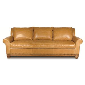 Echo Park Traditional Leather Sofa with Bun Wood Feet by Elite Leather