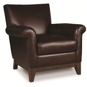 Elite Leather Wilshire Blvd Transitional Leather Upholstered Arm Chair
