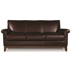 Elite Leather Wilshire Blvd Transitional Sofa with Rolled Arms and Wood Base