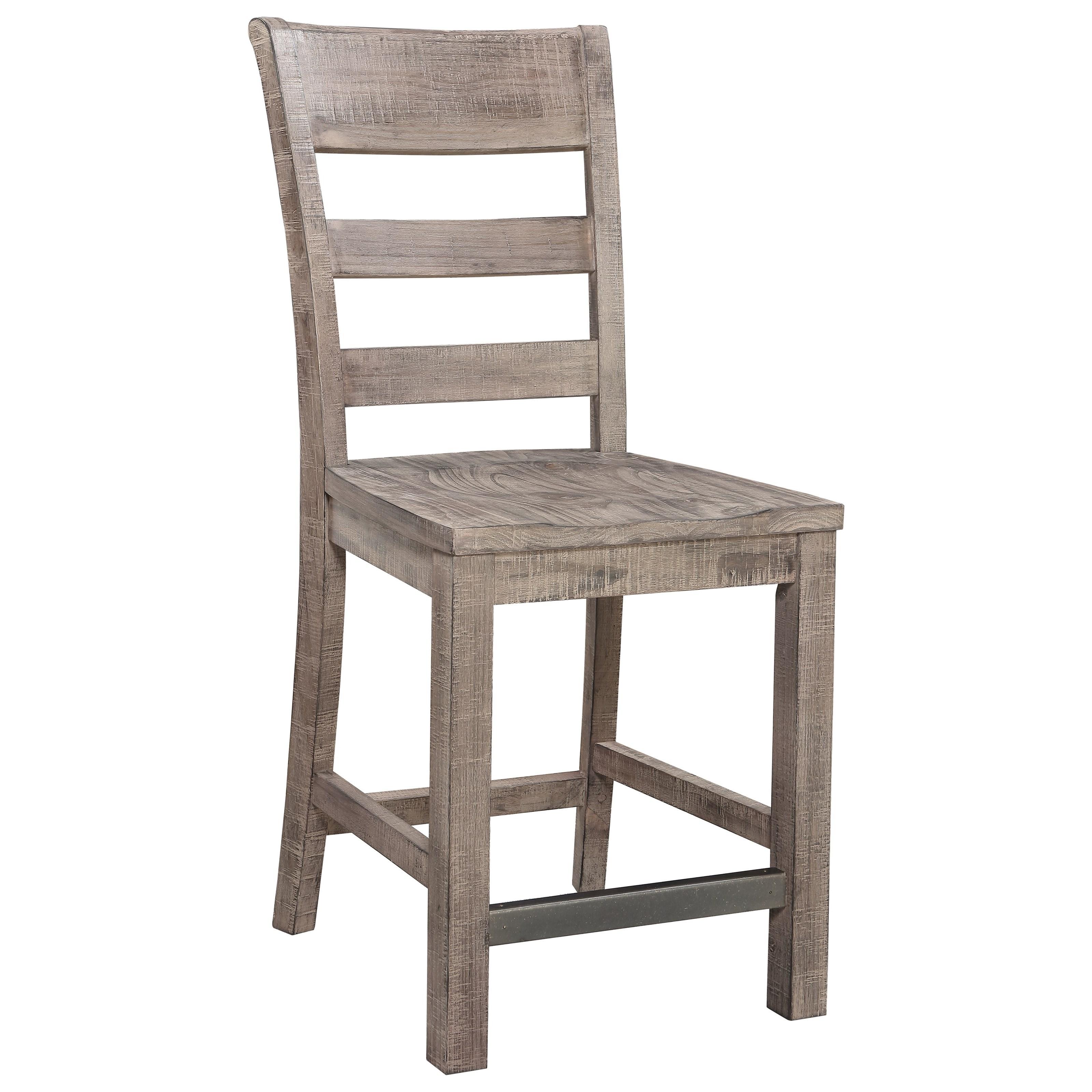 24'' Slat Back Barstool with Wood Seat