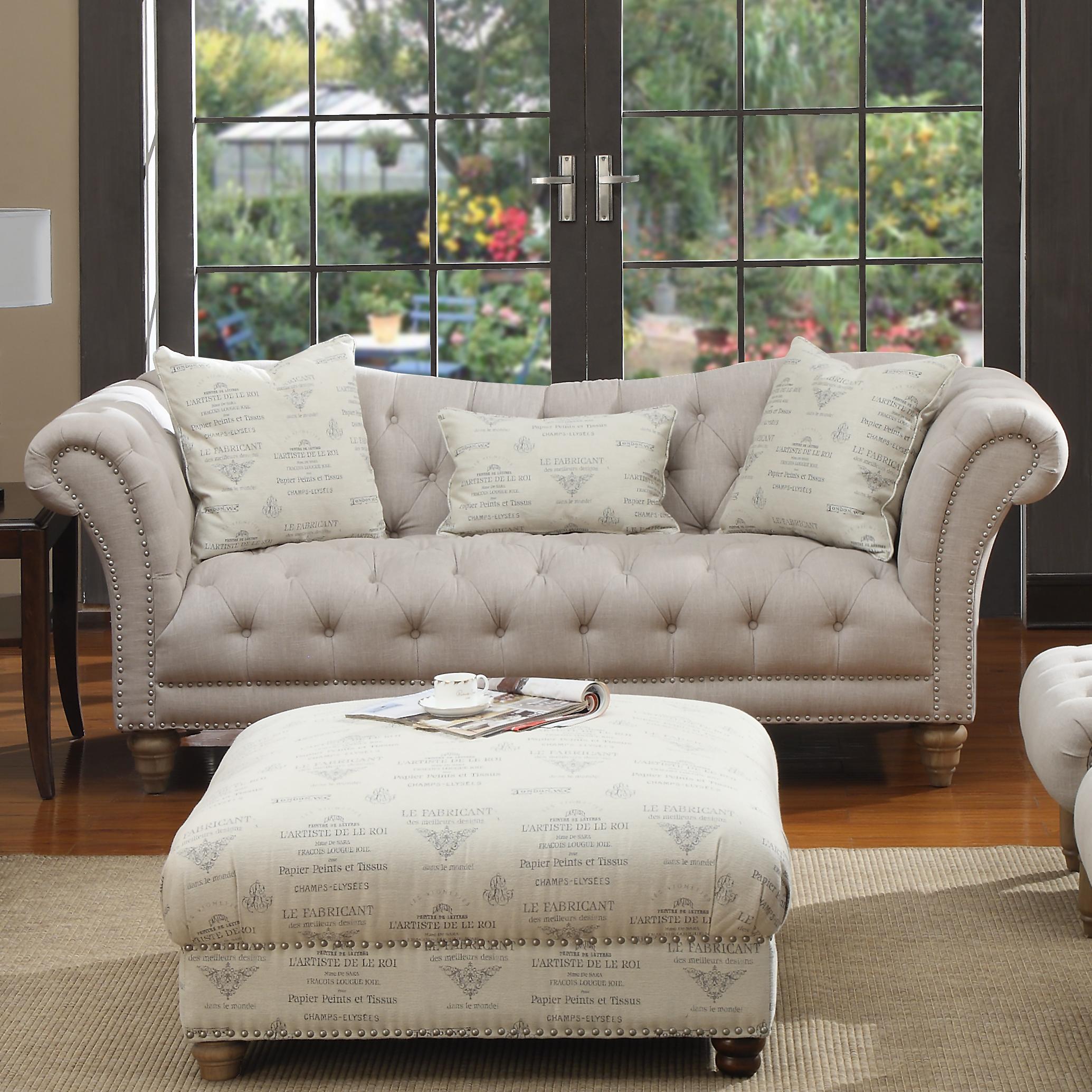 Nailhead Sofa W 2 Pillows Kidney Pillow