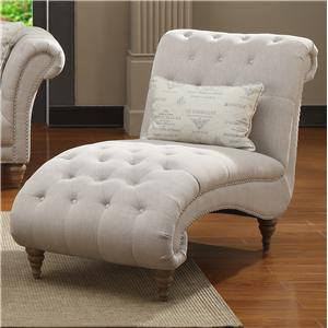 Emerald Hutton Fabric Upholstery Series Nailhead Chaise w/ 1 Kidney Pillow