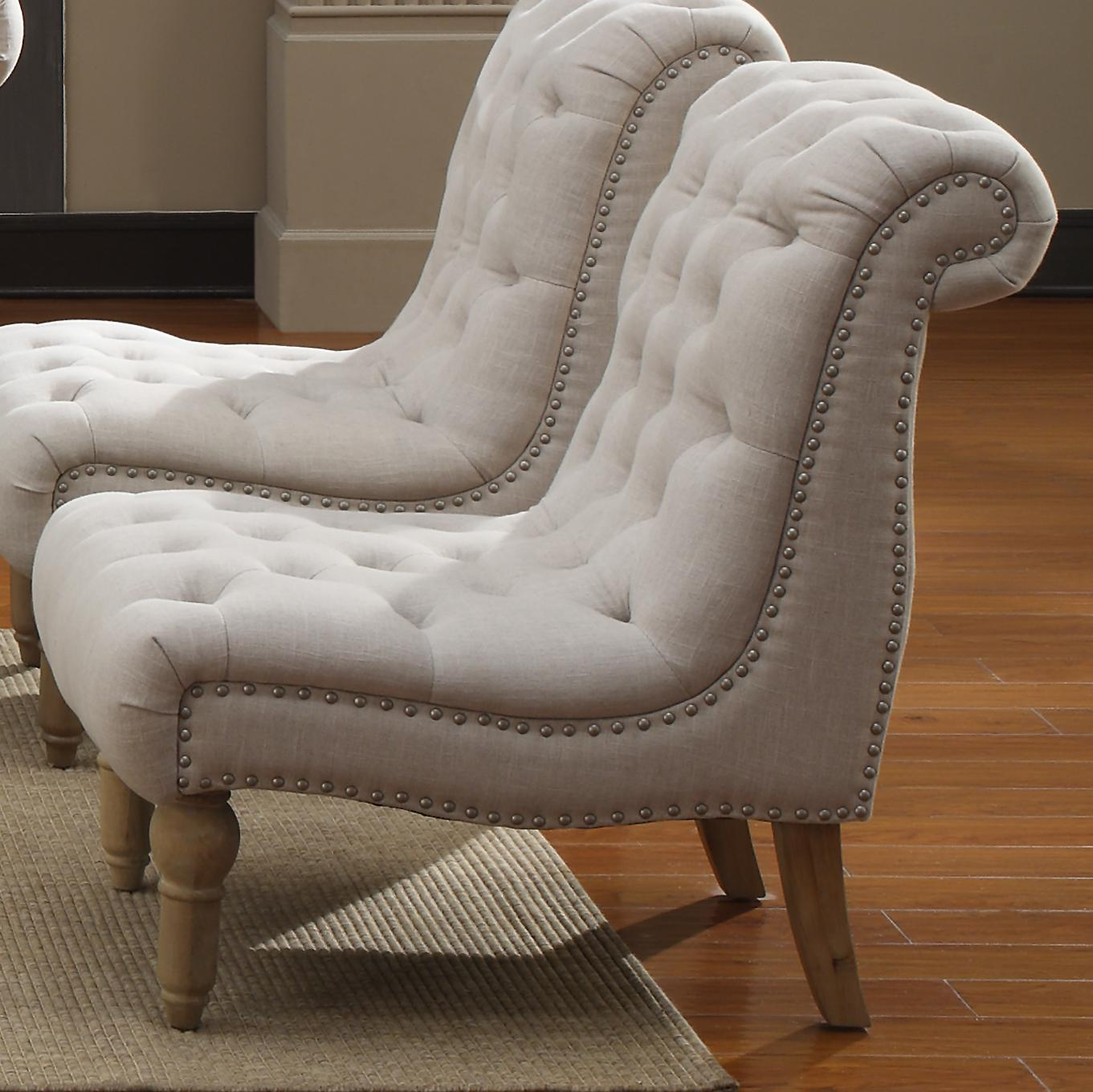 Emerald Hutton Fabric Upholstery Series Nailhead Armless Accent Chair    Item Number: U3164 15