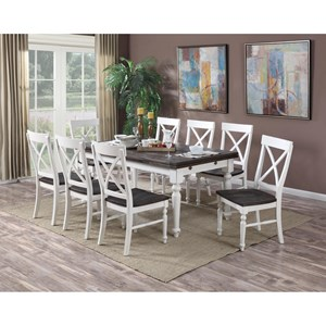 Emerald Mountain Retreat 9 Piece Dining Set With Two Tone
