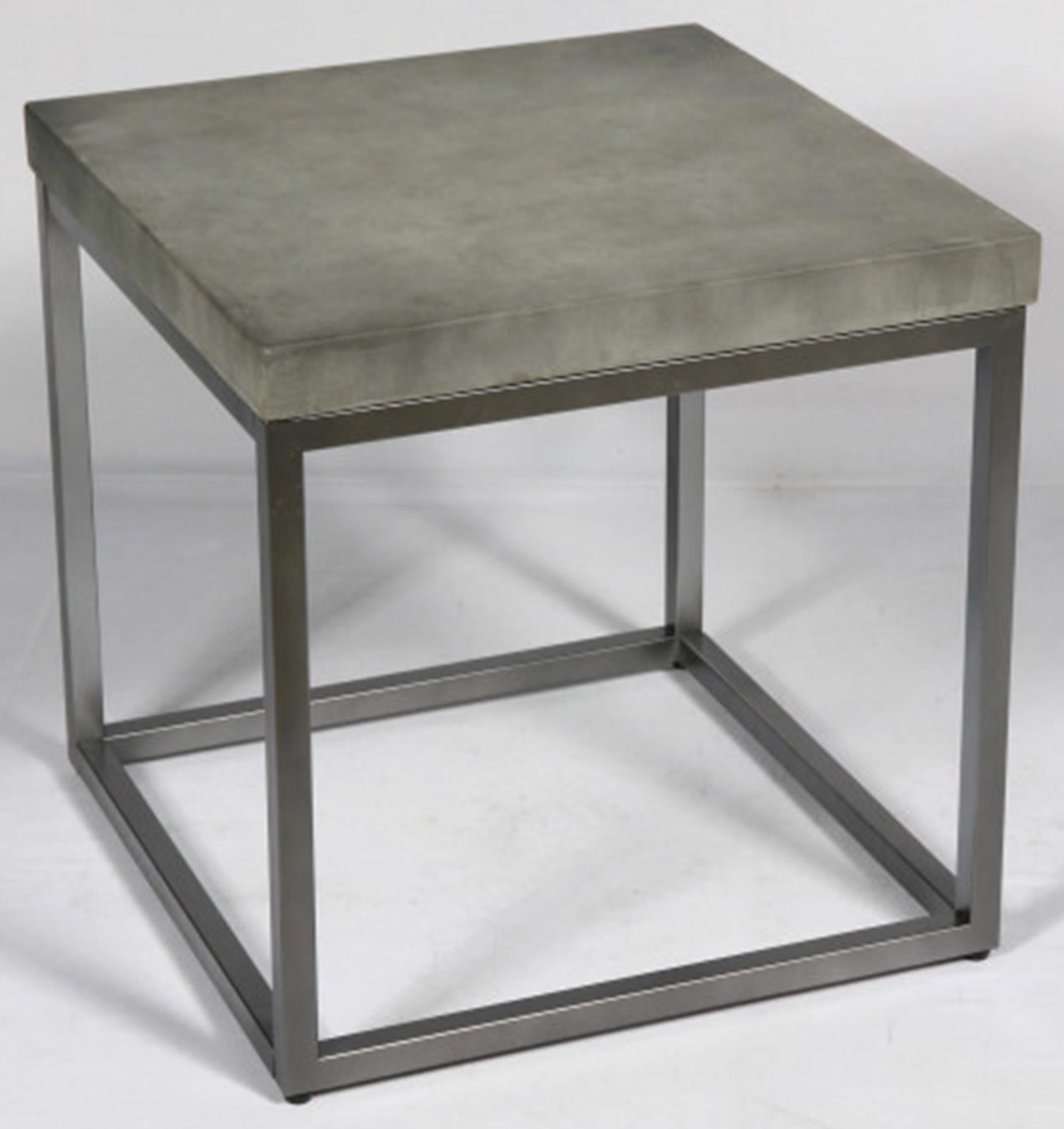 Concrete-Finish & Brushed Nickel End Table
