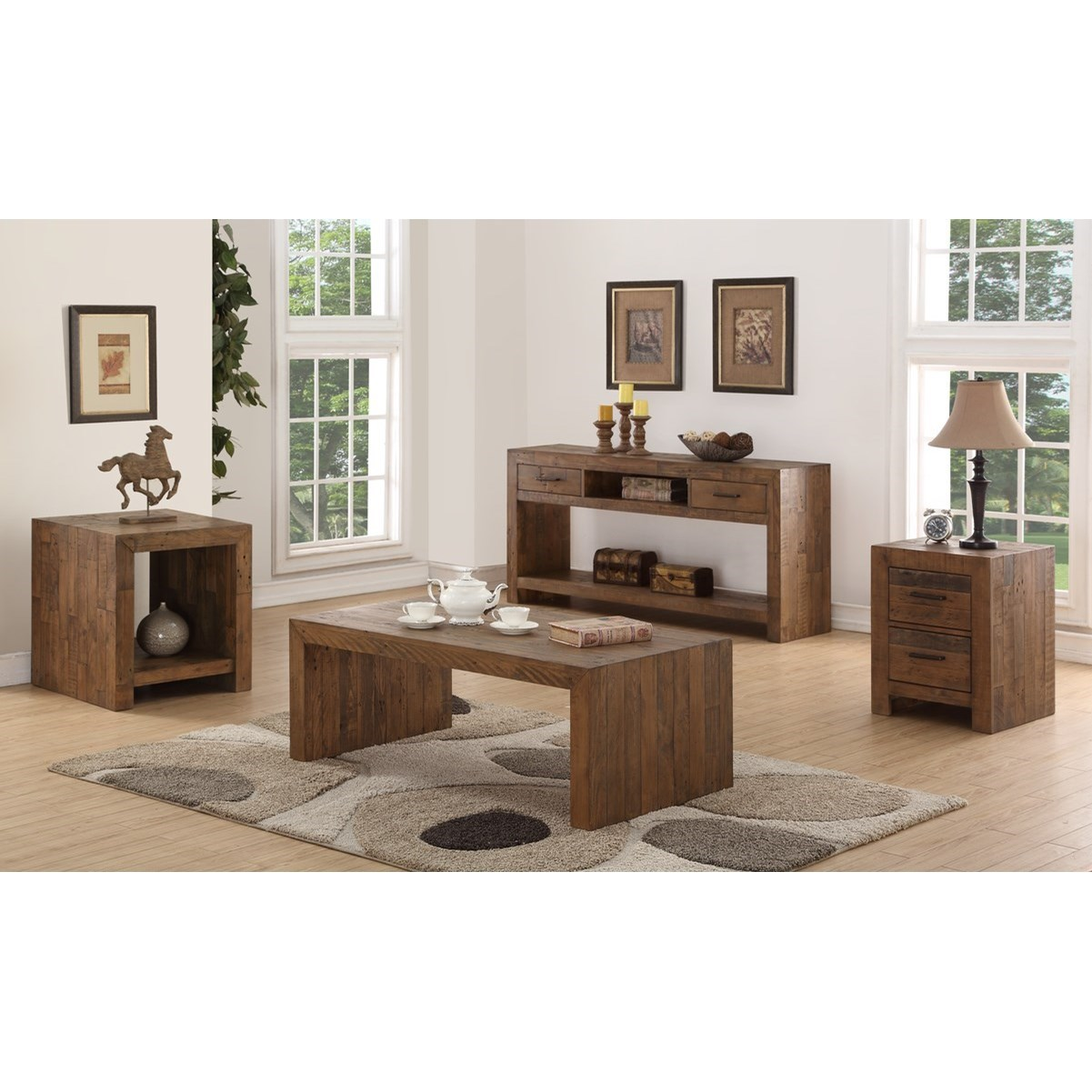 Pine Valley Contemporary Solid Wood 2-Drawer Chairside ...