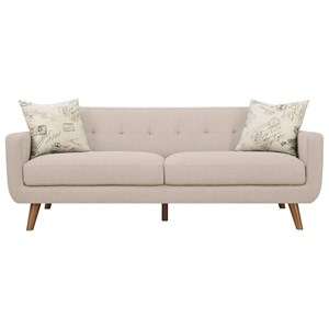 Remix Tufted Back Contemporary Sofa with 2 Accent Pillows by Emerald
