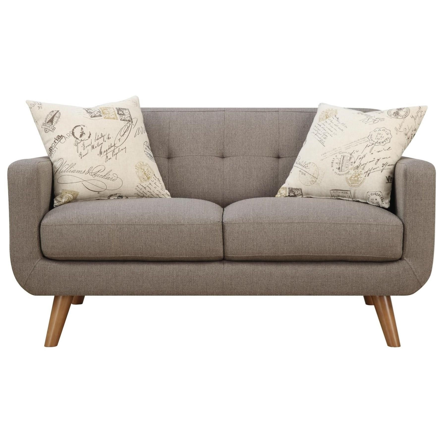 Emerald Remix Tufted Back Contemporary Loveseat With 2 Accent Pillows Rife 39 S Home Furniture